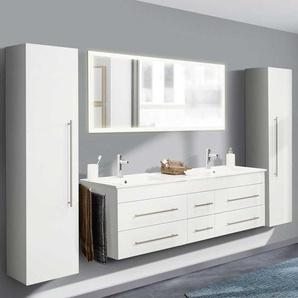 Hochglanz Badezimmer Set mit Doppel Waschtisch Weiß (vierteilig)