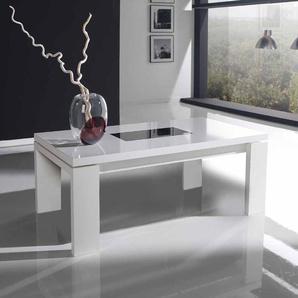 Hochglanz Couchtisch in Weiß Schwarzglas