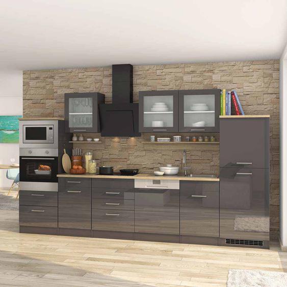 Hochglanz Küche in Grau Eiche Sonoma 340 cm (16-teilig)