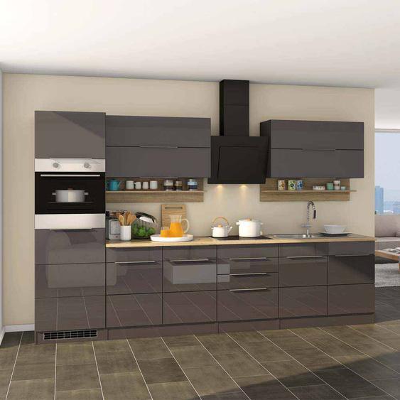 Hochglanz Küche in Grau Eiche Sonoma E-Geräte (10-teilig)