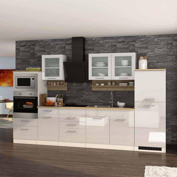 Hochglanz Küche in Weiß Eiche Sonoma E-Geräte (14-teilig)