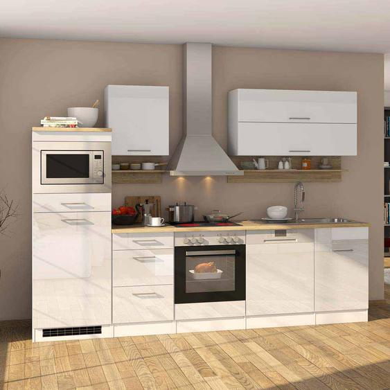 Hochglanz Küchenblock in Weiß Eiche Sonoma E-Geräte (13-teilig)
