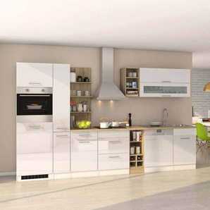 Hochglanz Küchenblock mit E-Geräten Weiß  Eiche Sonoma (14-teilig)