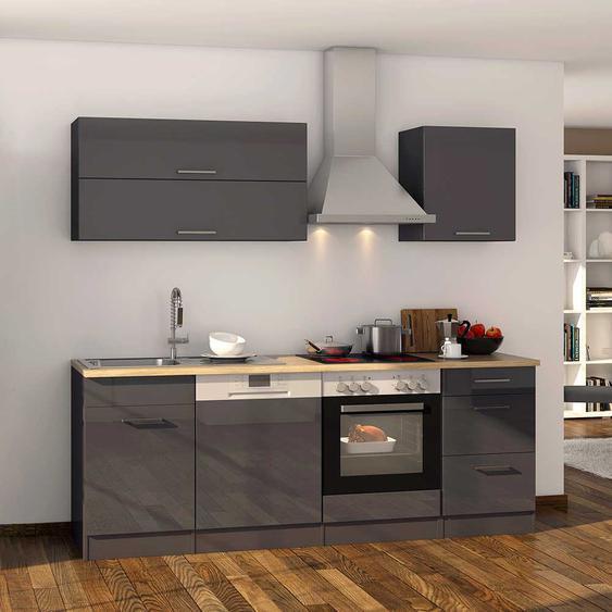 Hochglanz Küchenzeile in Grau 220 cm breit (11-teilig)