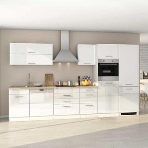 Hochglanz Küchenzeile in Weiß Geräten (dreizehnteilig)
