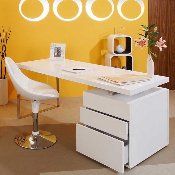 Hochglanz Schreibtisch in Weiß drei Schubladen