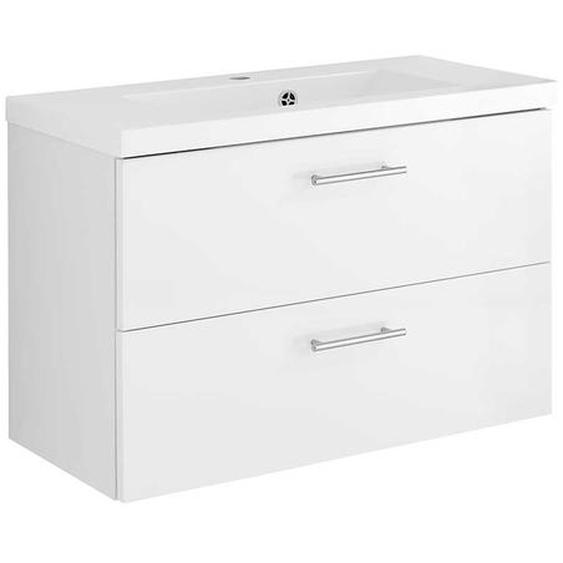 Hochglanz Waschtisch in Weiß zwei Schubladen