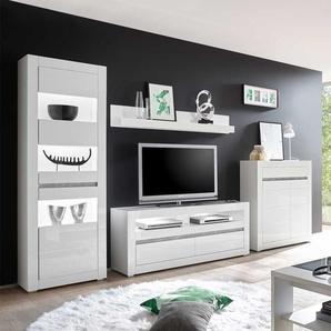 Hochglanz Wohnwand in Weiß und Beton Grau modern (4-teilig)