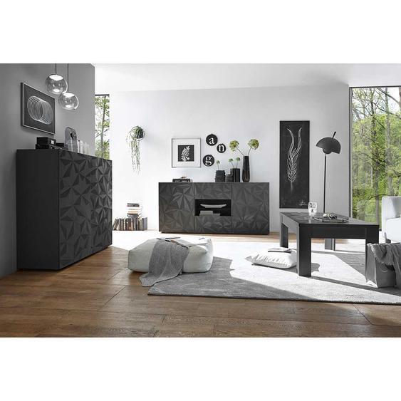 Hochglanz Wohnzimmer Set in Anthrazit Hochglanz Siebdruck verziert (3-teilig)
