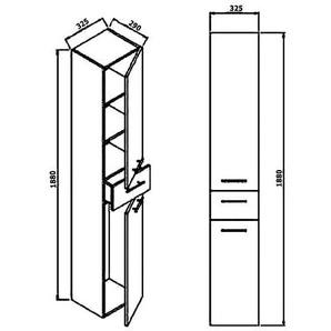 Hochschrank 188 cm creme seidenglanz Sonderposten