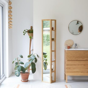 Hochschrank Badezimmerschrank Wandschrank 170 cm Spiegelschrank Teak masiv