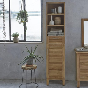 Hochschrank Badschrank Highboard Badmöbel Regal aus Teak 180 cm Natur neu
