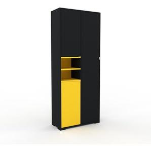 Hochschrank Schwarz - Moderner Schrank: Türen in Schwarz - Hochwertige Materialien - 79 x 196 x 35 cm, Selbst zusammenstellen
