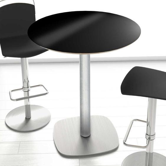 Hochtisch rund in Schwarz und Silberfarben Hochglanz Glasplatte