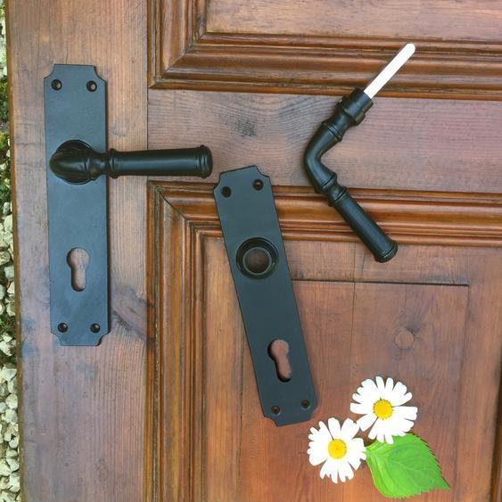 Hochwertige Klinkengarnitur Haustür Tür PZ72 Nebeneingang - pulverbeschichtet