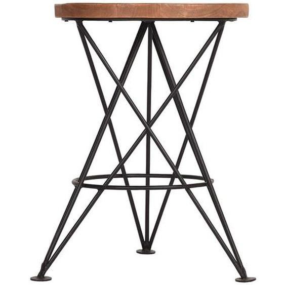 Hocker aus Mangobaum Massivholz und Metall Loft Design
