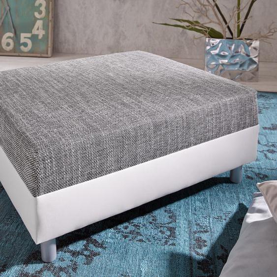 Hocker Clovis B98 x T83 Weiss/Hellgrau Modul Strukturstoff, Design Hocker, Couch Loft, Modulsofa, modular