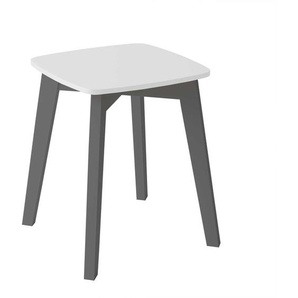 Hocker im Skandi Design in Wei� und Anthrazit 45 cm hoch