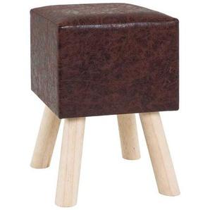 Hocker in Braun mit Holzfüßen