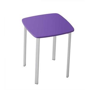 Hocker in Violett und Alufarben 45 cm hoch
