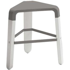 Hocker in Weiß und Grau Kunststoff und Massivholz