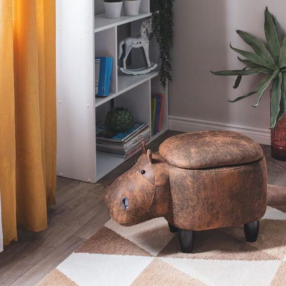 Hocker Lederoptik mit Stauraum hellbraun HIPPO