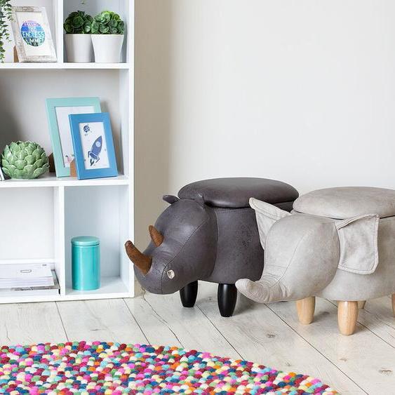 Hocker Lederoptik mit Stauraum hellgrau ELEPHANT