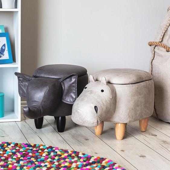 Hocker Lederoptik mit Stauraum hellgrau HIPPO