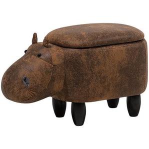 Hocker Lederoptik hellbraun HIPPO