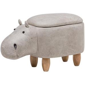 Hocker Lederoptik hellgrau HIPPO