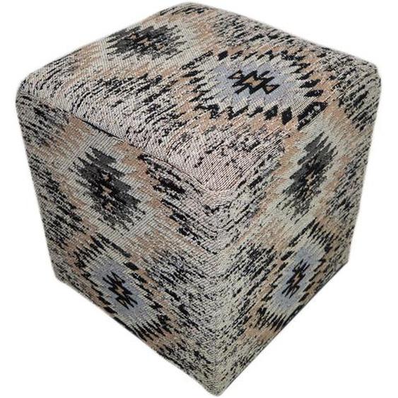 Hocker mit 100% Baumwolle-Stoffüberzug handgefertigt Grau
