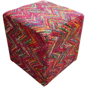 Hocker mit 100% Baumwolle-Stoffüberzug handgefertigt Multi