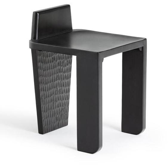Hocker Schemel Fußschemel Polsterhocker Schreibtisch-hocker Microvelour schwarz