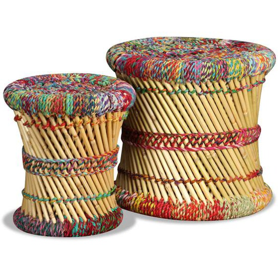 Hocker mit Chindi-Details 2 Stk. Mehrfarbig Bambus