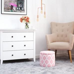 Hocker mit Deckel rosa/weiß TUNICA