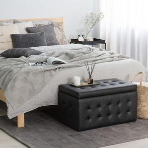 Hocker mit Deckel Kunstleder schwarz MICHIGAN