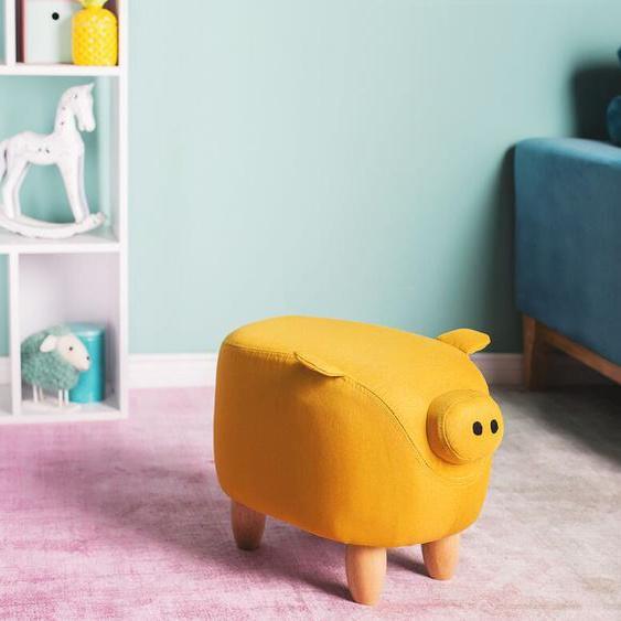 Hocker Polsterbezug gelb PIGGY