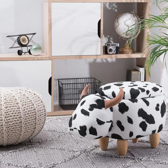 Hocker Polsterbezug mit Stauraum schwarz-weiß COW