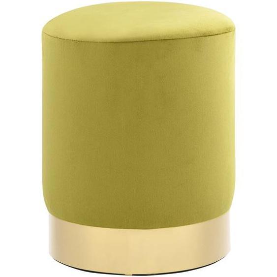 Hocker Senfgrün und Golden Samt