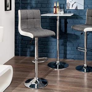 Höhenverstellbarer Barhocker MODENA grau weiß Barstuhl mit Fußablage