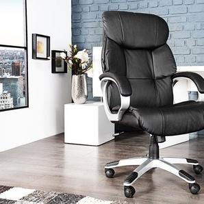 Höhenverstellbarer Bürostuhl STRONG XXL schwarz Chefsessel mit Armlehnen
