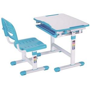Höhenverstellbarer Kinderschreibtisch mit Stuhl Blau Weiß (2-teilig)