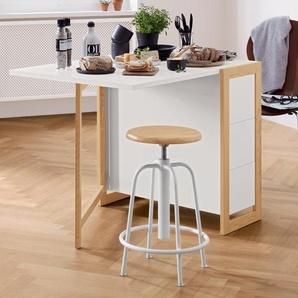Höhenverstellbarer Sitzhocker - weiß - Massivholz -
