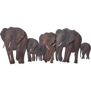 HOFMANN LIVING AND MORE Wanddekoobjekt »Elefantenfamilie«, Wanddeko, aus Metall