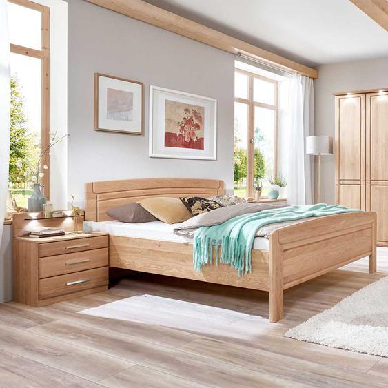 Hohes Bett aus Eiche teilmassiv LED Beleuchtung (3-teilig)