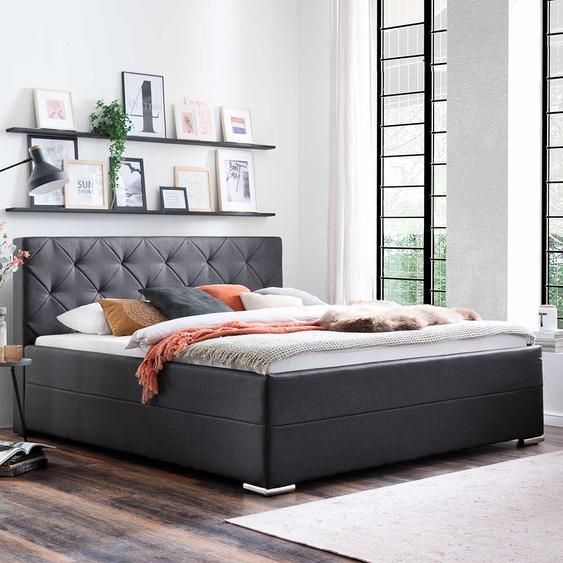 Hohes Bett in Anthrazit Webstoff 180x200 cm