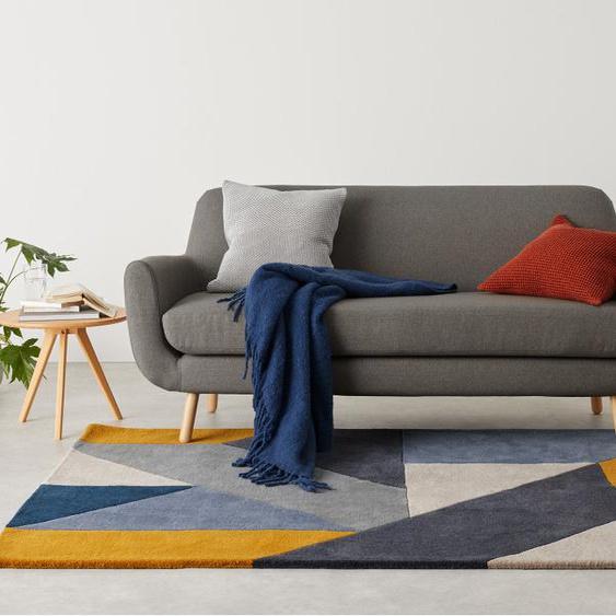 Holden Teppich (160 x 230 cm), Blau und Senfgelb