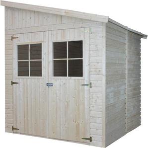 Holz Gartenschuppen (mit Seitenwand) MIT IMPRÄGNIERTEM BODEN - Abstellkammer mit Fenstern - H244x211x220 cm/4 m2 - Gartenwerkstatt - Fahrrad- Geräteschuppen TIMBELA M338A+M338G