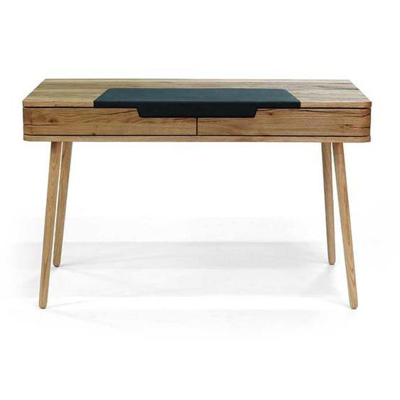 Holz Schreibtisch aus Asteiche Massivholz Bianco gebürstet und geölt