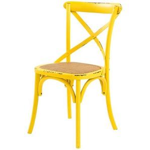Love it Holz-Stuhl im Used-Look | gelb | 50 cm | 88 cm | 55 cm | Möbel Kraft